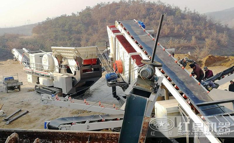 移动式破碎机生产线安装现场
