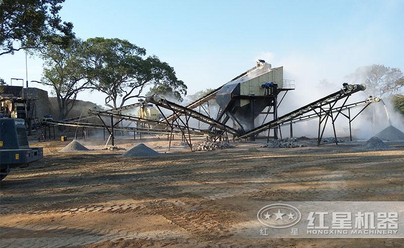 红星用户小型反击破碎沙生产线现场