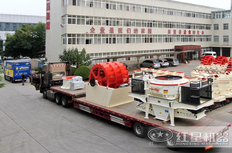 时产100吨的制砂机成套设备发货现场
