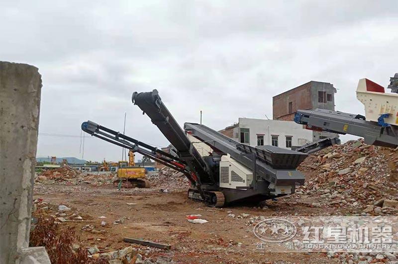 移动式建筑垃圾破碎生产线现场